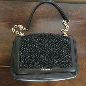 Karl Lagerfeld Paris Black Gold Chain Bag